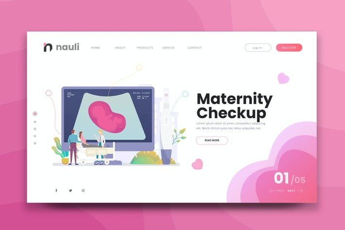 Thumbnail for Maternity Checkup Web PSD and AI Vector Template