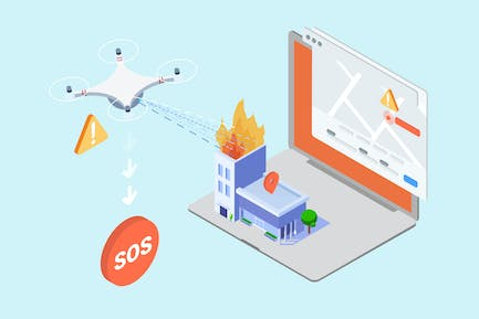 IOT Drohne Search And Rescue Isometric - TU
