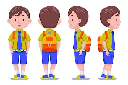 Cute Kids Boy Student Carrying Backpack #01