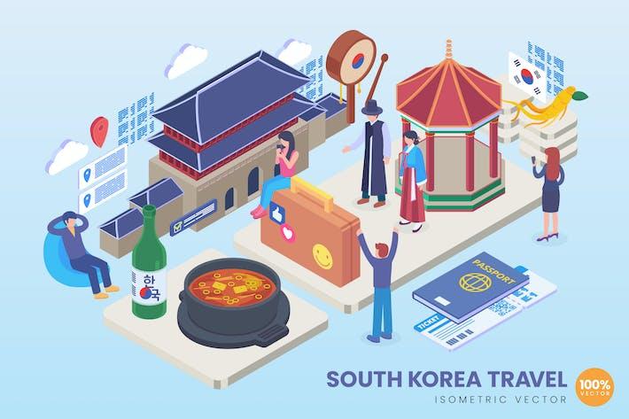 Isometrische Südkorea Travel Vektor Konzept