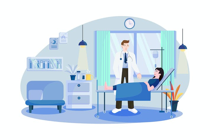 Doctor visits patient in hospital ward