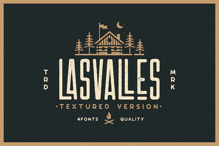 Thumbnail for Las Valles Textured Condensed Typeface 4 Fonts