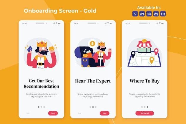 Gold and Precious metal apps onboarding screens