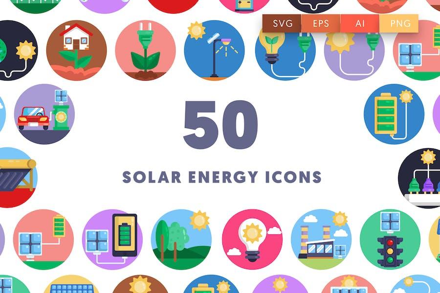 50 Sonnenenergie-Symbole