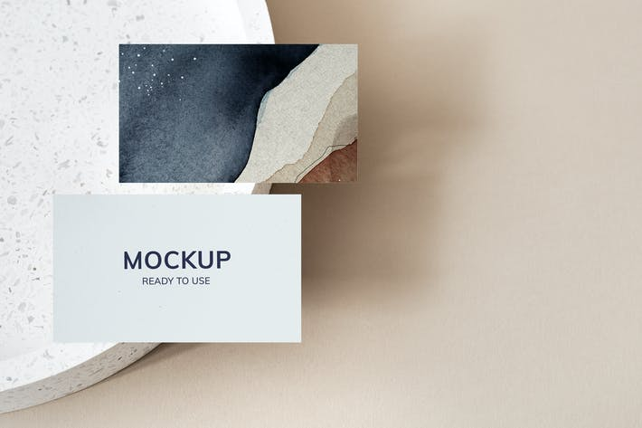 Business Cards on a Stone Tray Mockup