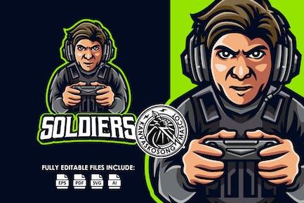Soldat Gamer Konsolen-Logovorlage
