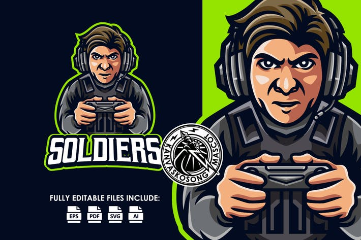 Soldier Gamer Console Logo Template