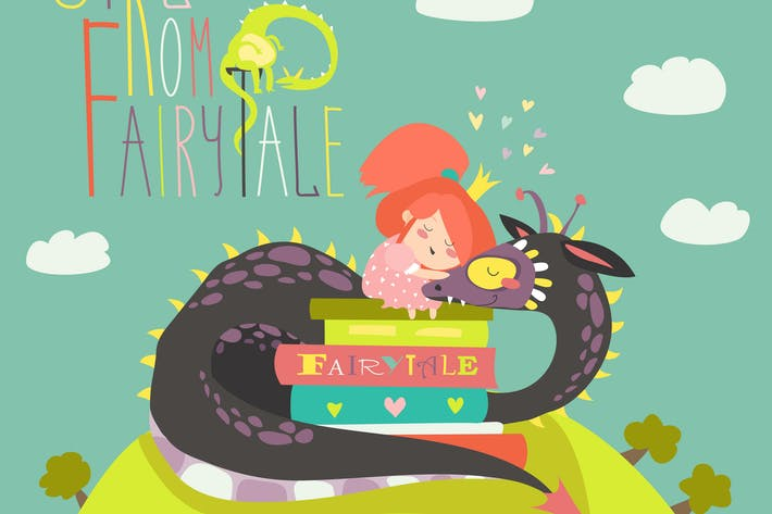 Thumbnail for Cute princess sitting on pile of books