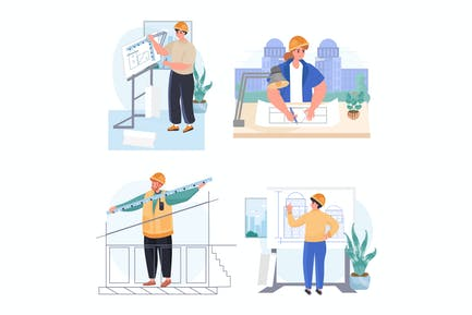 Architects Profession Concept Scenes Set