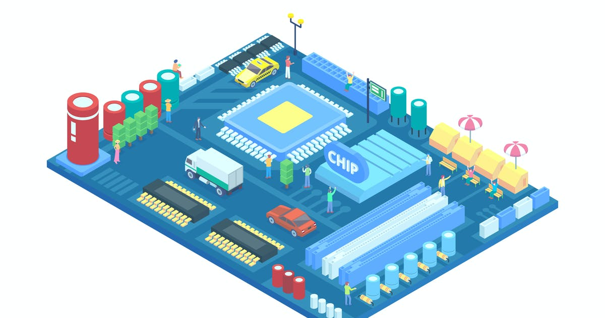 Download Isometric Urban City in a Circuit Board Vector by naulicrea