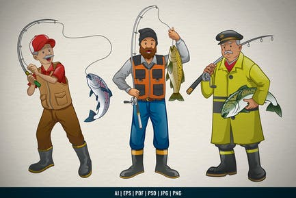 Set of Cartoon Fisherman Character Collection