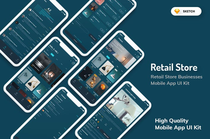 Thumbnail for Retail Store Mobile App Dark Version (SKETCH)