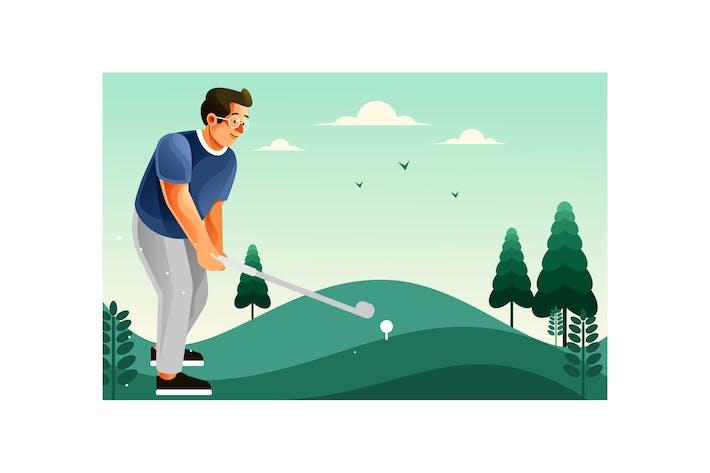 Ein Mann, der Golf auf dem Golfplatz spielt