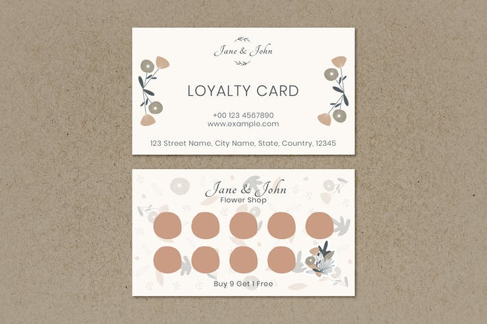 Floral loyalty business card design template
