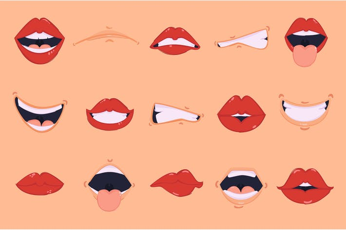Thumbnail for Cartoon Mouth Illustration Pack