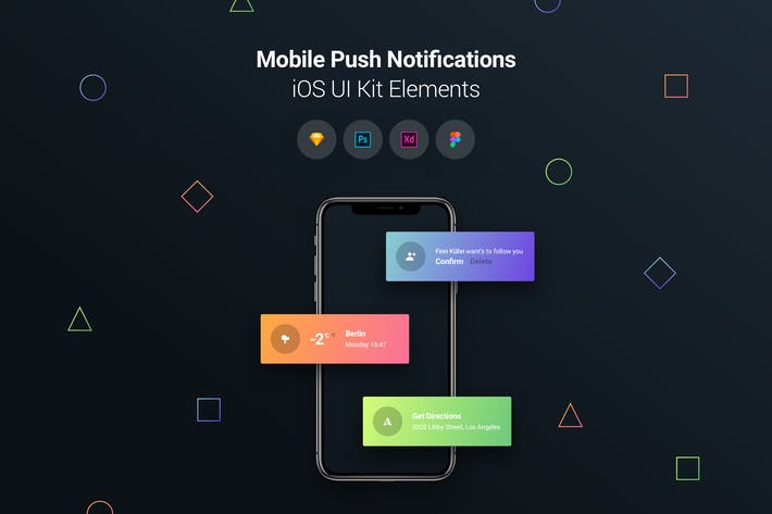 Thumbnail for Mobile Push Notifications - iOS UI Kit Elements