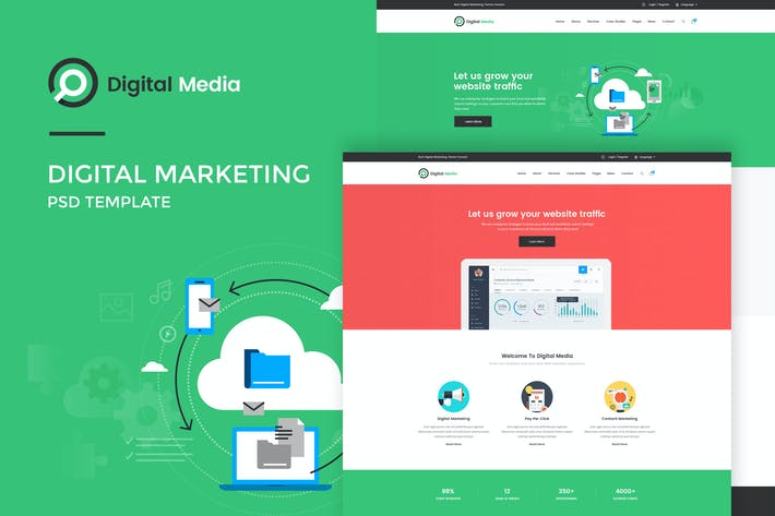 Cover Image For Digital Media : Digital Marketing PSD Template