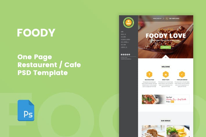 Thumbnail for Foody - One Page Restaurant/Recipe PSD Template