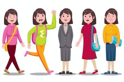 Studenten-Vektor Illustration der Jungen Frau Vol. 1