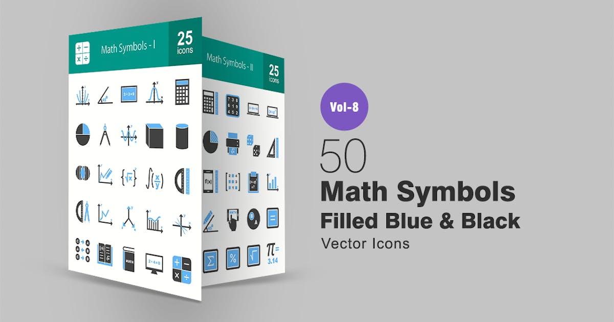 Download 50 Math Symbols Blue & Black Icons by IconBunny