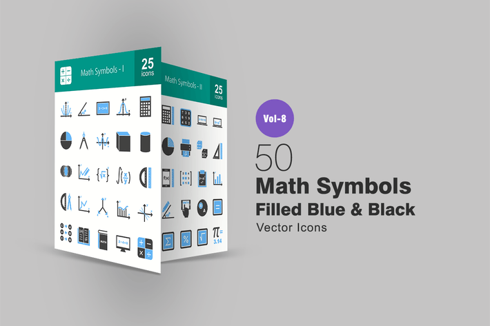 50 Math Symbols Blue Black Icons By Iconbunny On Envato Elements