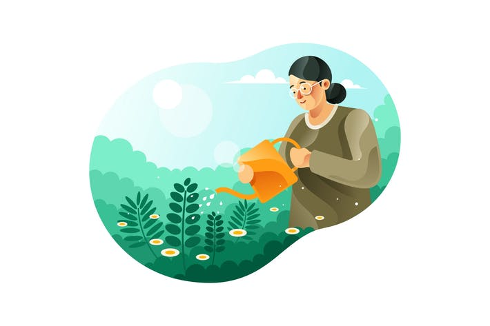 Thumbnail for Woman Watering Plants illustration