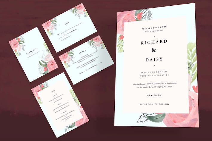 Thumbnail for Rose Flower Wedding Invitation Set
