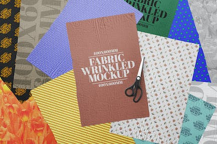 Fabric Wrinkled Mockup Cloth Texture Poster Set