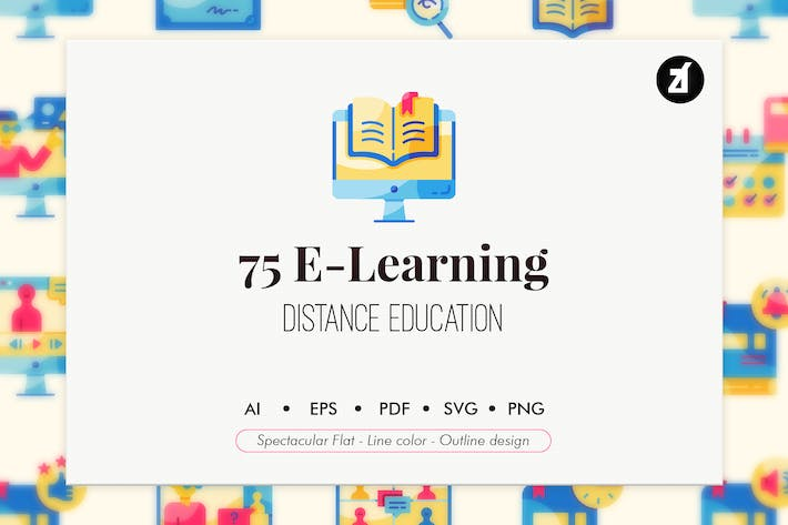 Thumbnail for 75 E-Learning elements icon pack