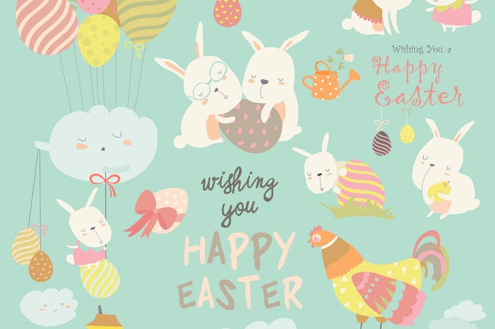 Cover Image For Animals celebrating Easter. Vector set of cartoon