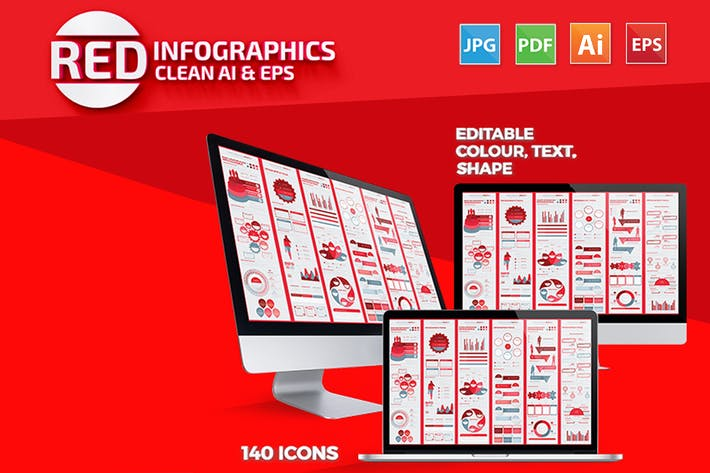 Thumbnail for Red Infographics Set