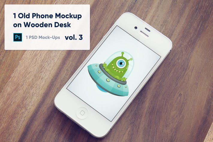 Thumbnail for 1 Old Phone Mockup on Wooden Desk Vol.3