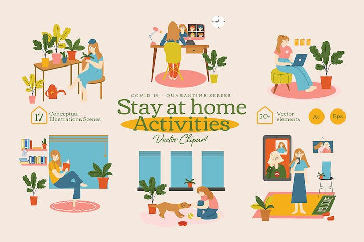 Thumbnail for Stay At Home Activities Vector Clipart