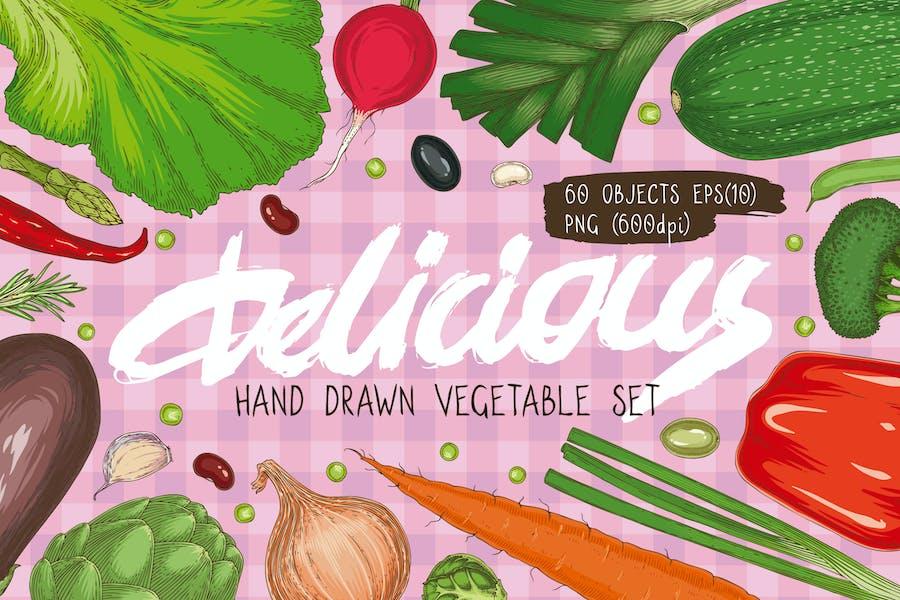 Hand Drawn Vegetable Set