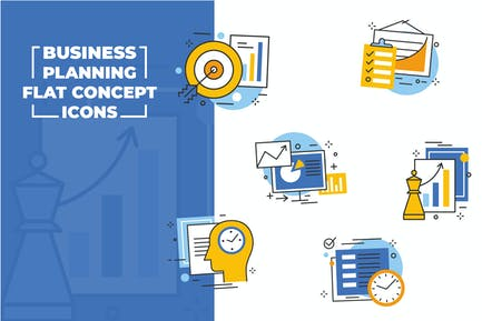 Business Planning Flache Icons