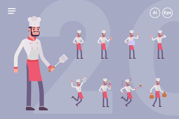 Thumbnail for Male Chef Character Set (20 Poses)