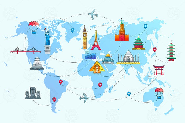Thumbnail for Map of the World - vector flat travel illustration