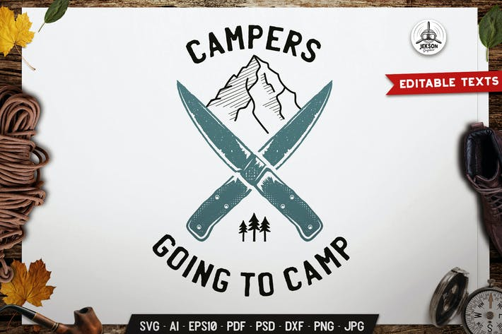Campers Logo, Camping Badge Vector Travel Graphic