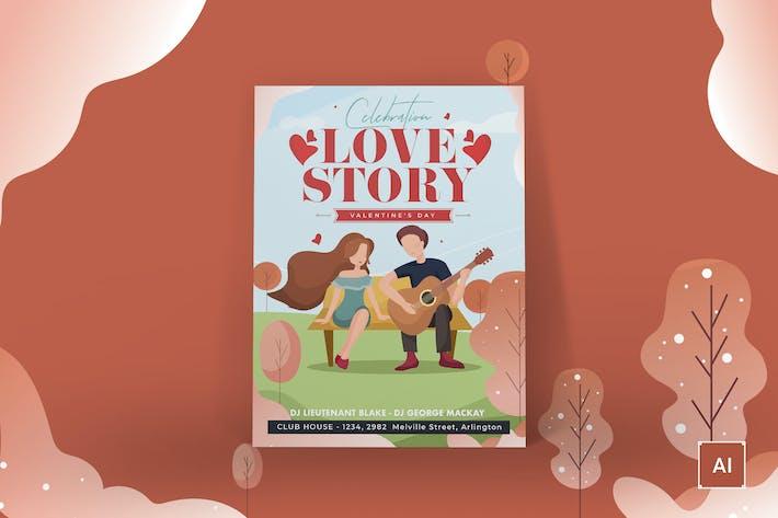 Thumbnail for Valentine's Day Poster Illustrator Template