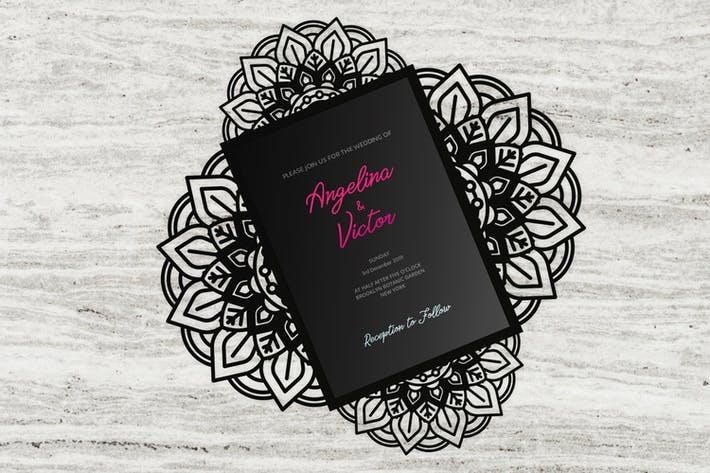 Thumbnail for Elegance four-fold wedding invitation templates