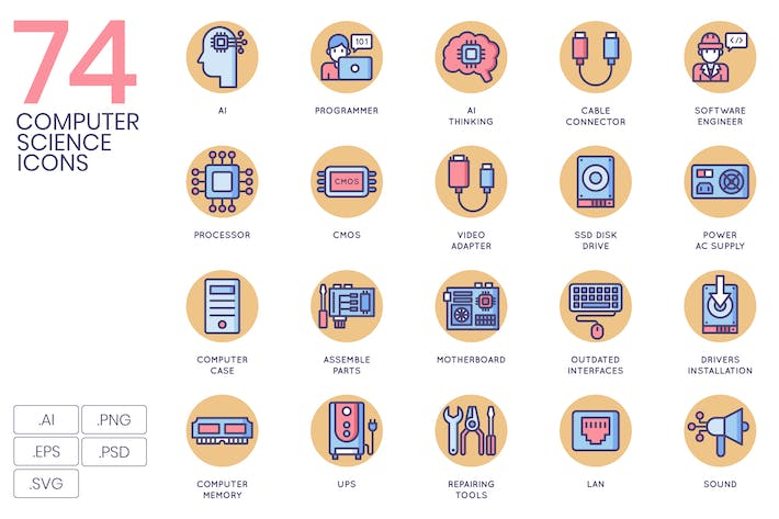 Thumbnail for 74 Computer Science Icons | Butterscotch Series
