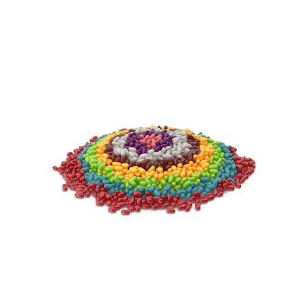 Großer Haufen Jelly Beans Regenbogen-Kreise