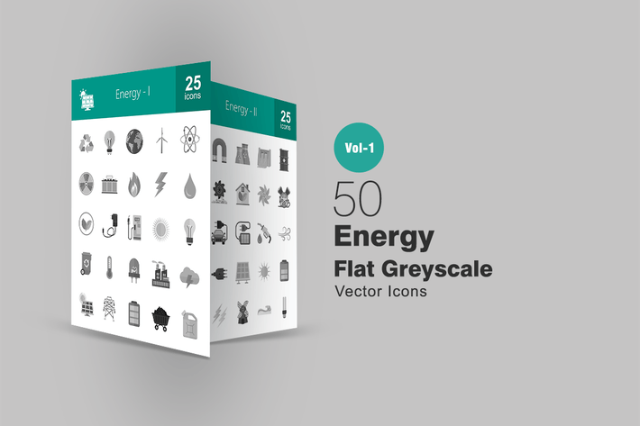Thumbnail for 50 Energy Greyscale Icons