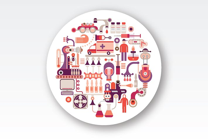Thumbnail for Research Laboratory Equipment round vector design