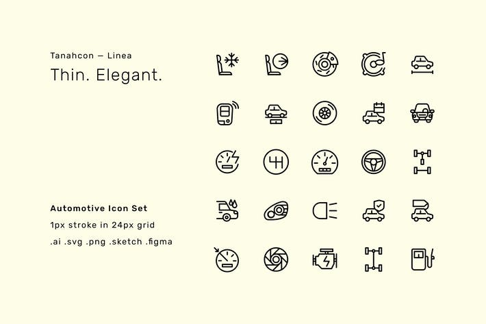 Automobil-Icon-Set - Linea