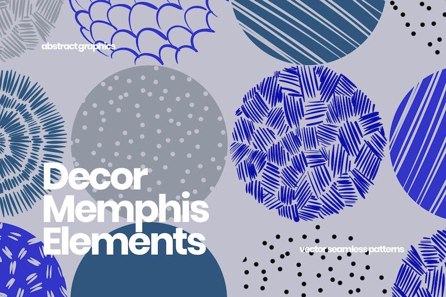 Round Decor Memphis Elements Seamless Patterns