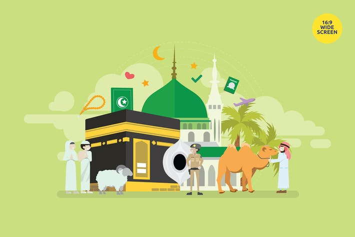 Cover Image For Mekkah Hajj And Umrah Season Vector Concept