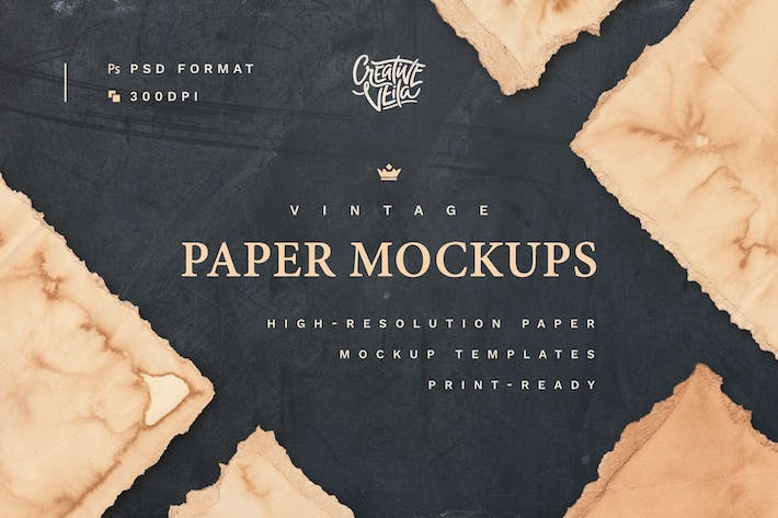 Thumbnail for Vintage Paper PSD Mockup Set