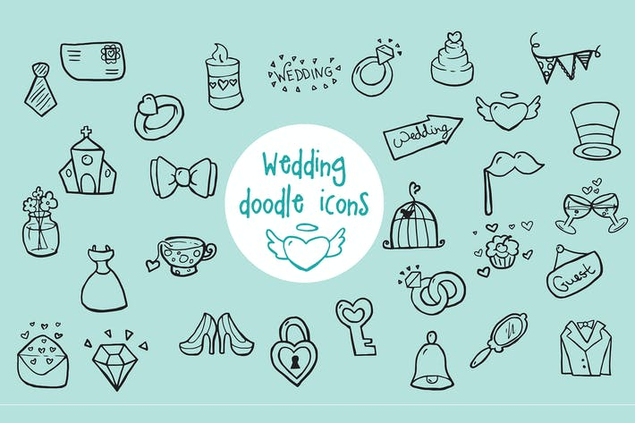 Thumbnail for Wedding - Doodle Icons