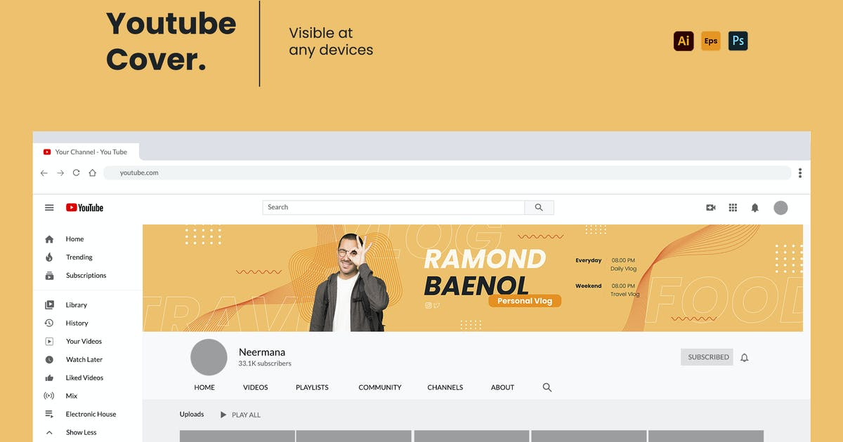 Download Youtube Cover Template V.2 by Neermana